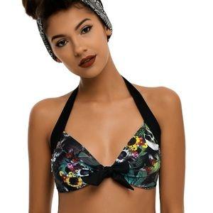Too Fast floral skull bikini top